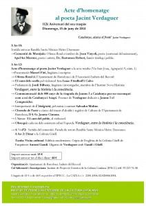 Acte d'homenatge al poeta Jacint Verdaguer a Montjuïc