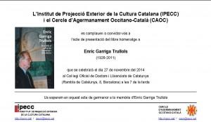 Presentació del llibre d'homenatge a Enric Garriga Trullols